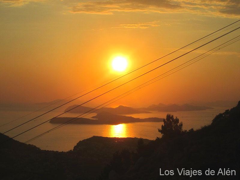 Puesta de sol desde el teleférico de Dubrovnik