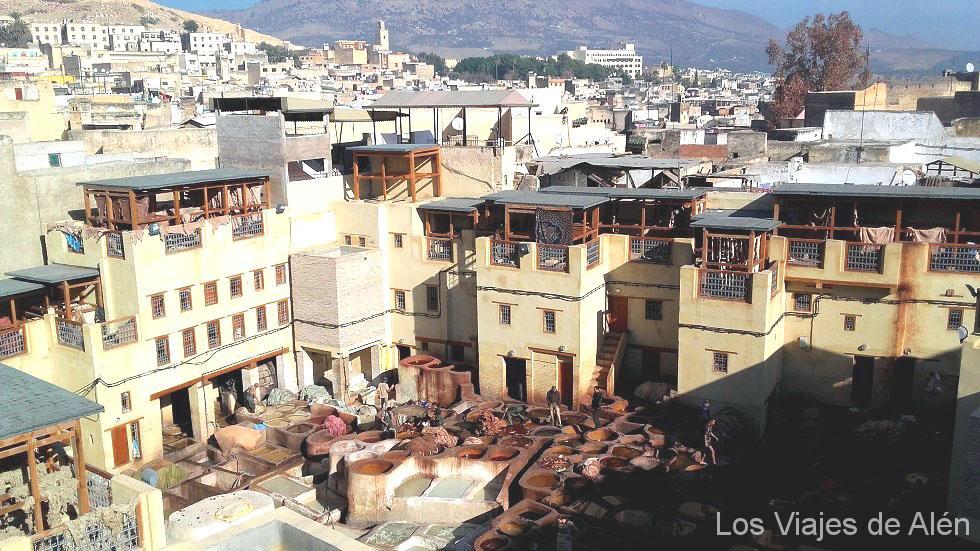 Vista de la curtidería de la Medina de Fez.