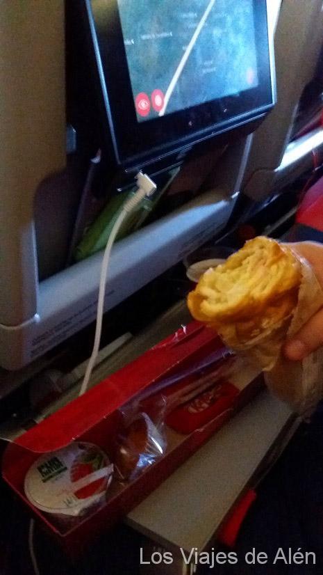 Desayuno en el avión